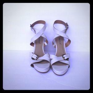 Shoedazzle Women's white ankle wrap sandals Size 8